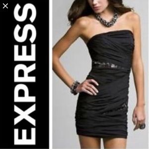 Express black strapless ruched dress with jewels 2